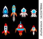 set of cartoon rockets  vector   Shutterstock .eps vector #1622678866