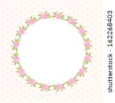 vintage floral round frame with ... | Shutterstock .eps vector #162268403