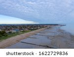 Middleton on Sea Aerial View at low tide on the beautiful and picturesque coast of southern England.