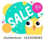sale 50  off. yellow character...   Shutterstock .eps vector #1623038083