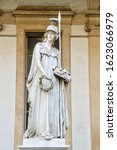 Small photo of turin, italy, 14 january 2020: a statue of the roman goddess of wisdom (Minerva, the equivalent of the greek goddes athena).This statue is located in the courtyard of the Turin University