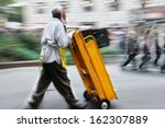 delivery goods with dolly by... | Shutterstock . vector #162307889