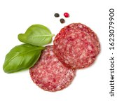 Slices Of Salami Isolated On...