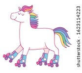 a cute rollerskating unicorn... | Shutterstock .eps vector #1623114223