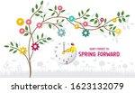 spring forward banner. daylight ... | Shutterstock .eps vector #1623132079