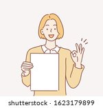 business woman holding papers... | Shutterstock .eps vector #1623179899