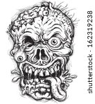 Sketchy Detailed Zombie Head