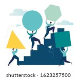 businessman pushing sphere and... | Shutterstock .eps vector #1623257500