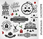 Christmas happy new year vintage ornate labels set