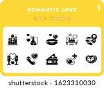 romantic love flat  icons pack...