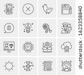 business icon set. 16 universal ... | Shutterstock .eps vector #1623358840