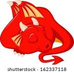 Cute Red Dragon Cartoon Sleeping
