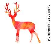 vector watercolor deer with... | Shutterstock .eps vector #162340646