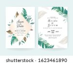 set of cards with floral... | Shutterstock .eps vector #1623461890