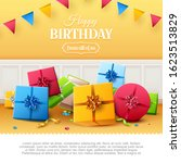 luxury birthday greeting card... | Shutterstock .eps vector #1623513829