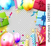 colorful gift boxes  balloons... | Shutterstock .eps vector #1623513853