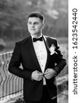 groom in a suit with a bow tie... | Shutterstock . vector #1623542440