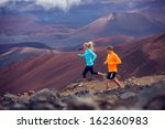 fitness sport couple running... | Shutterstock . vector #162360983