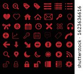 simple 3d red icons sets for web