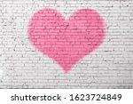 Old Brick Wall Graffiti  Heart  ...