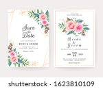 set of cards with floral... | Shutterstock .eps vector #1623810109