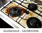 A Dirty Burner Gas Stove In The ...