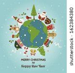 Christmas Planet Card. Merry...