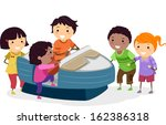 illustration of kids riding an... | Shutterstock .eps vector #162386318