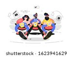 people sitting in movie theater ... | Shutterstock .eps vector #1623941629