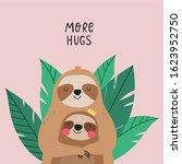 cute cartoon animals sloth bear ... | Shutterstock .eps vector #1623952750