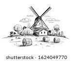 countryside landscape with a... | Shutterstock .eps vector #1624049770