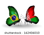 two butterflies with flags on... | Shutterstock . vector #162406010