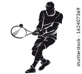 tennis player  silhouette | Shutterstock .eps vector #162407369