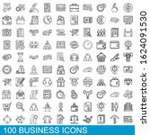 100 business icons set. outline ...