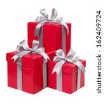 Red Boxes With Gifts Tied With...