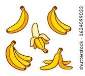 set of cartoon banana drawings  ... | Shutterstock .eps vector #1624099033