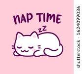 cute cartoon cat sleeping with...   Shutterstock .eps vector #1624099036