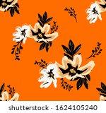 seamless hand draw floral... | Shutterstock . vector #1624105240