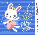 cute bunny fairy holding magic... | Shutterstock .eps vector #1624146673