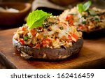 closeup of portobello mushrooms ... | Shutterstock . vector #162416459