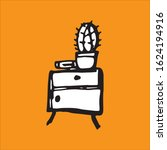 bedside table with a cactus.... | Shutterstock .eps vector #1624194916