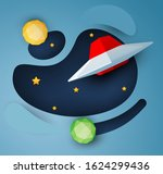 red ufo spaceship fly in space... | Shutterstock .eps vector #1624299436