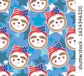 patriotic sloth seamless... | Shutterstock .eps vector #1624346320