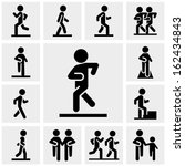 walking vector icons set on... | Shutterstock .eps vector #162434843