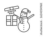 snowman gift box icon. simple...