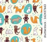 happy animals seamless pattern | Shutterstock .eps vector #162437663