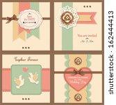 set of four vintage wedding... | Shutterstock .eps vector #162444413