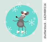 funny mouse in a winter hat and ... | Shutterstock .eps vector #1624484116