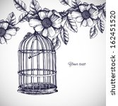 Vintage Romantic Card With Cage ...