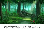 tropical jungle at day anime... | Shutterstock . vector #1624526179
